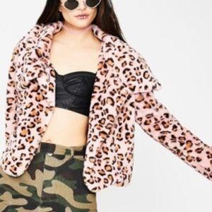 Pink Lepoard Print Coat